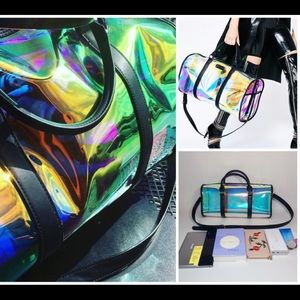 It's back holographic weekender bag